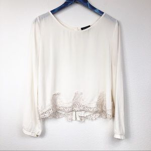 ASTR Long Sleeve Lace Hem Blouse